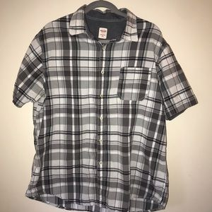Mens XL Button down plaid short sleeve shirt
